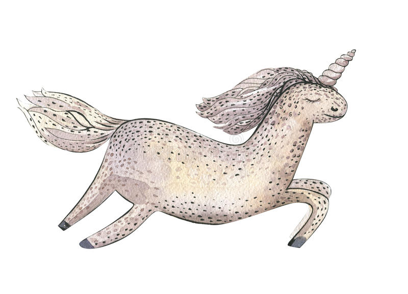 水彩在白色与不可思议的独角兽的童话卡片隔绝的 皇族释放例证