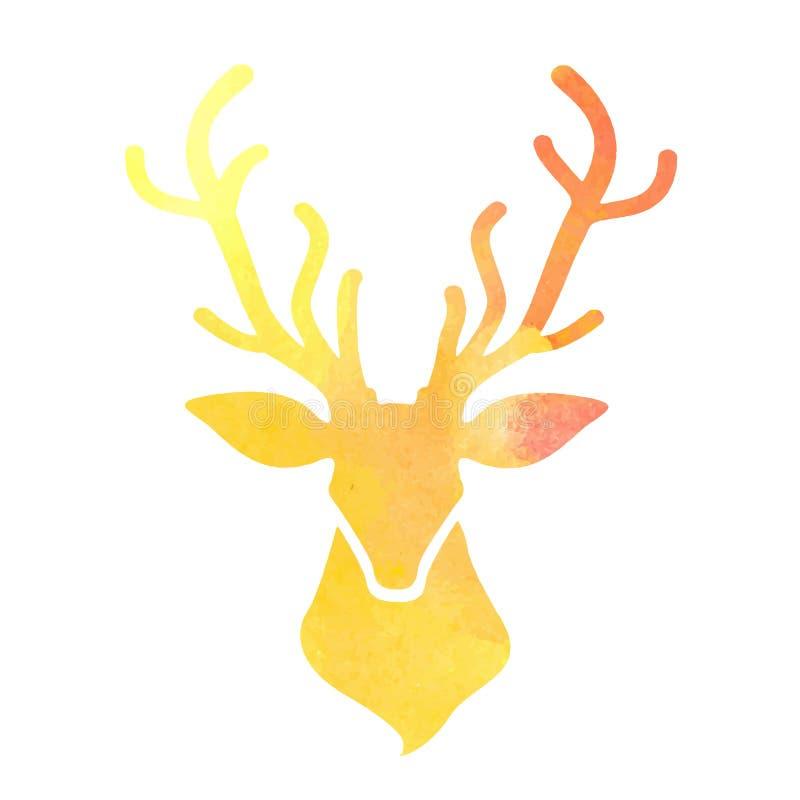 水彩在白色背景的鹿头