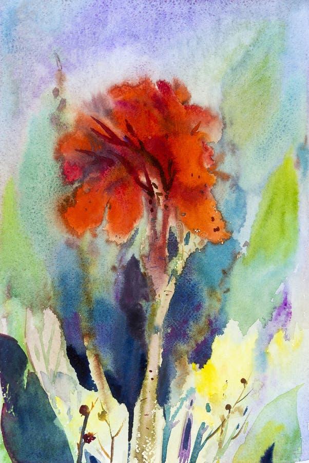 水彩在纸五颜六色的山水画canna百合花 库存例证