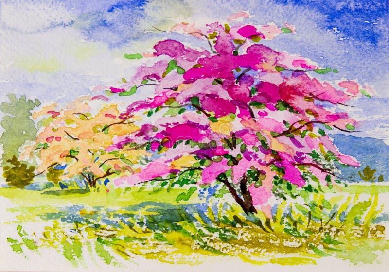 绘画水彩在纸五颜六色的风景原物纸花 库存例证