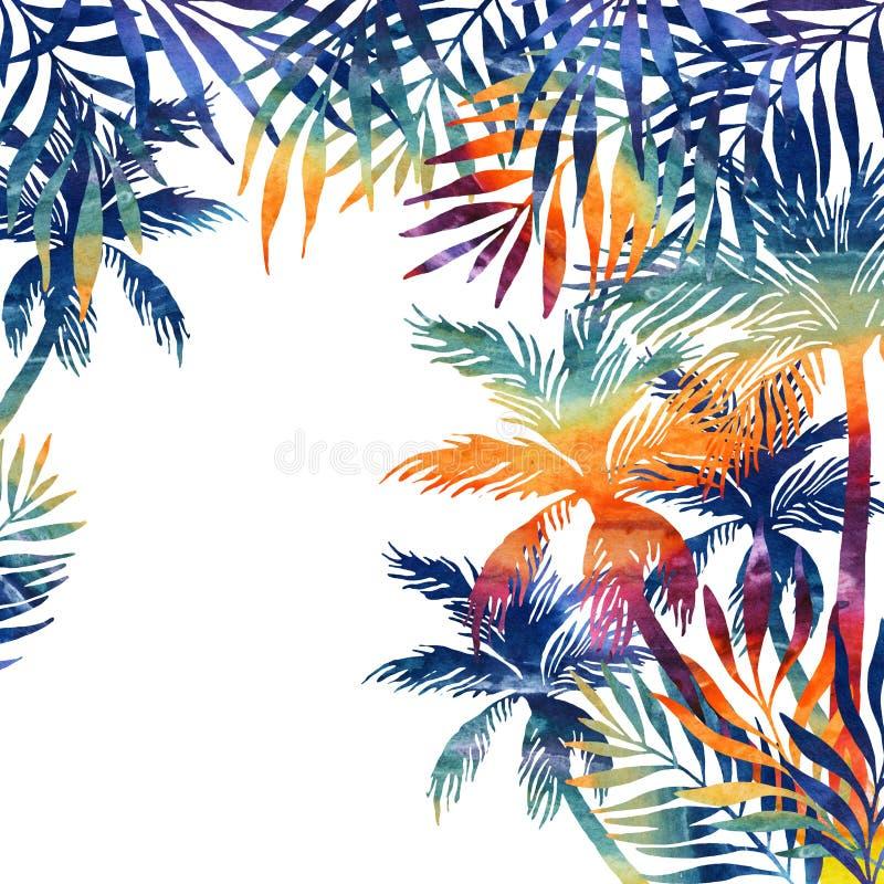 水彩在黑背景的棕榈树 向量例证