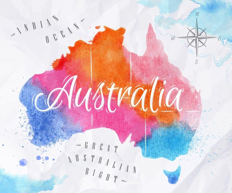 水彩地图澳大利亚桃红色蓝色