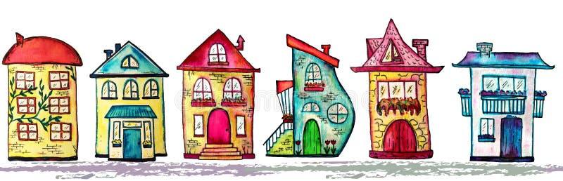 水彩城市无缝的线 逗人喜爱的房子背景 光栅例证 库存例证