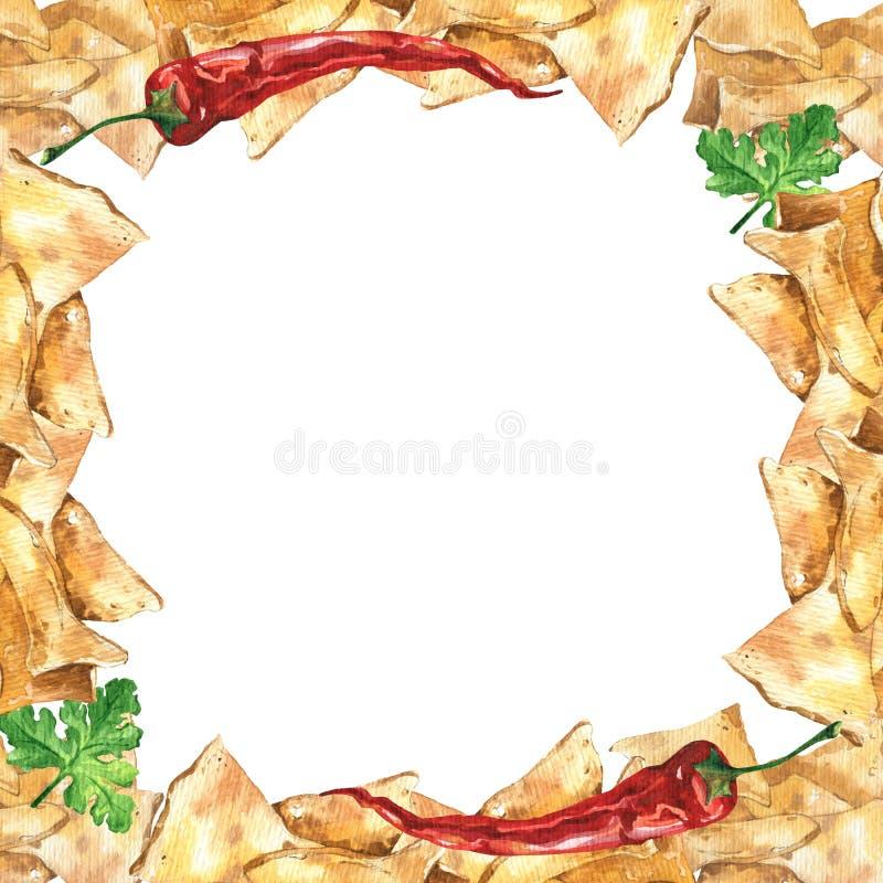 水彩墨西哥烤干酪辣味玉米片和辣调味汁调味汁框架 墨西哥食物 图库摄影