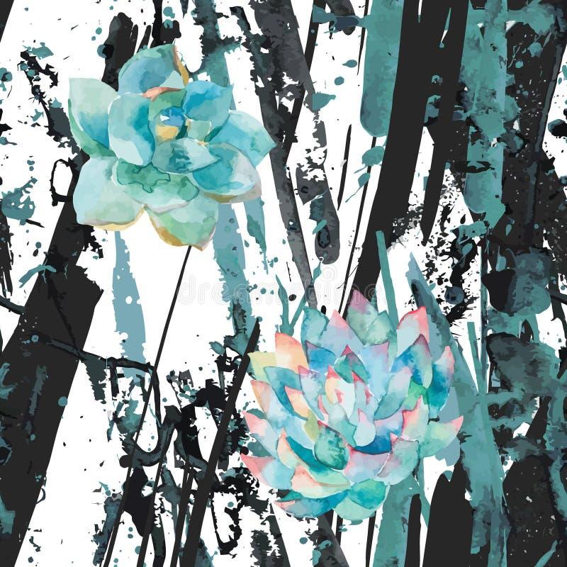 水彩多汁植物和条纹 抽象蓝墨水泼溅物斑点,线 背景 时髦现代样式 免版税库存照片