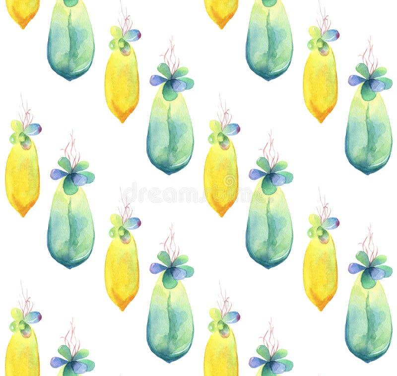 水彩多汁植物婴孩的无缝的样式 拉长的现有量 库存例证