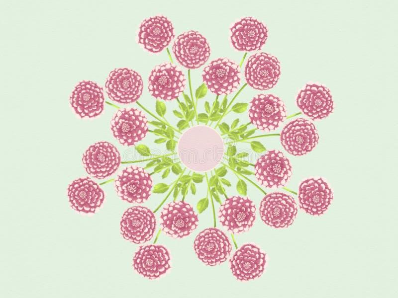 水彩大丽花花花卉坛场背景设计例证 图库摄影
