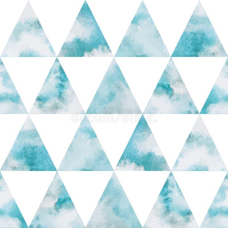 水彩天空三角无缝的传染媒介样式 向量例证