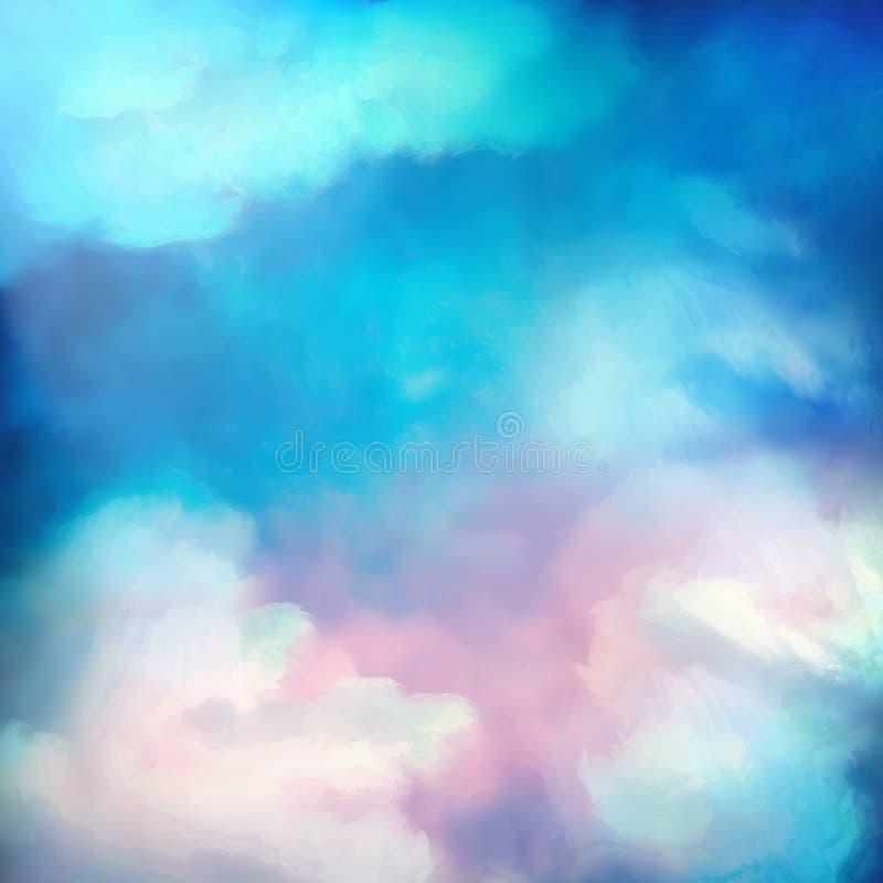 水彩天空绘画传染媒介背景 向量例证