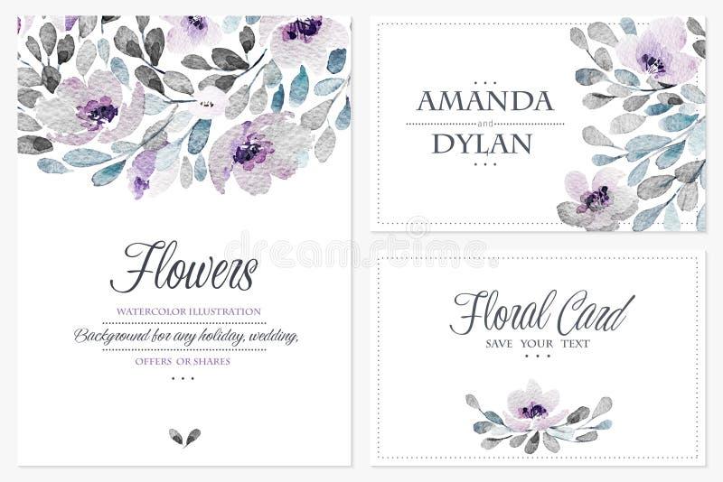 水彩套与可爱的花的背景 皇族释放例证