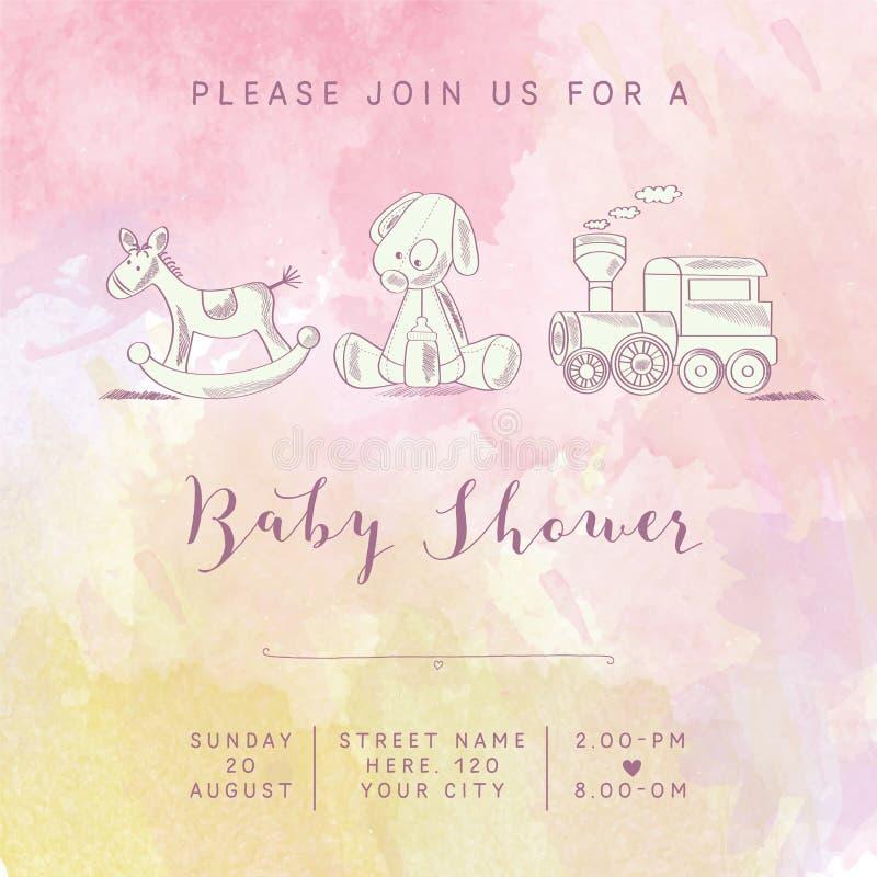 水彩女婴与减速火箭的玩具的阵雨卡片 向量例证