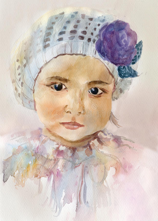 水彩女婴画象 向量例证