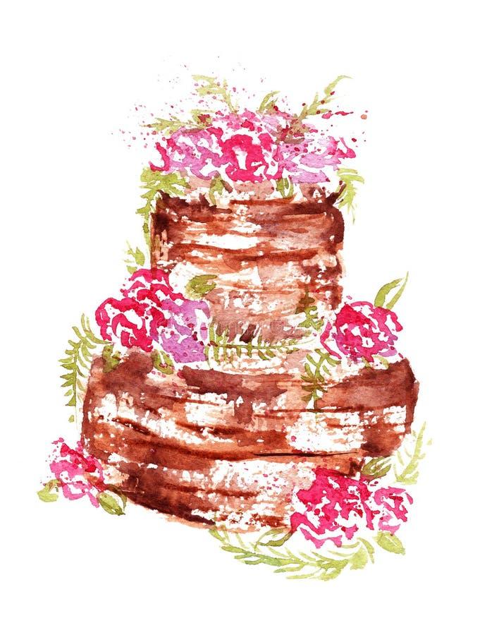 水彩婚礼与桃红色花和叶子的巧克力蛋糕在白色背景 库存例证