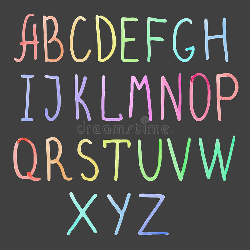水彩字母表 向量例证