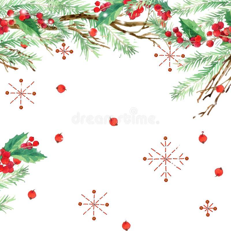 水彩寒假背景 水彩例证圣诞树,槲寄生分支,槲寄生莓果,雪花 皇族释放例证