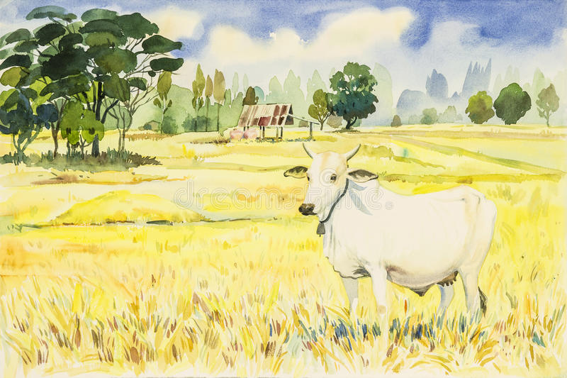 水彩山水画五颜六色米fird和母牛 皇族释放例证