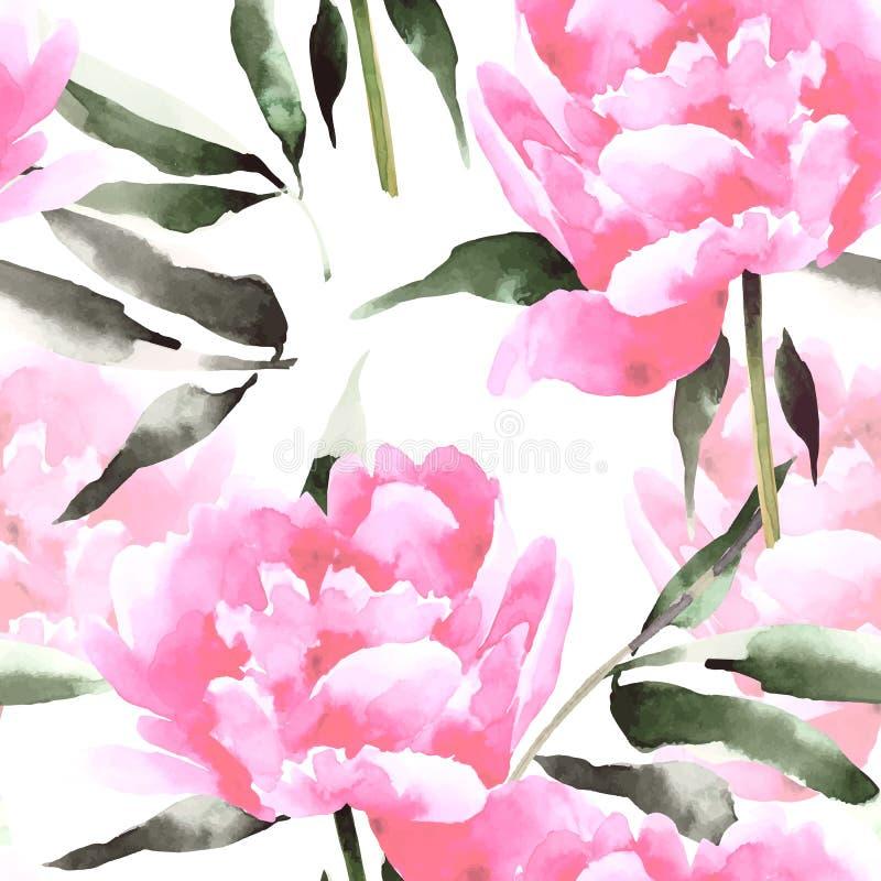 水彩开花与peonis的无缝的样式 皇族释放例证
