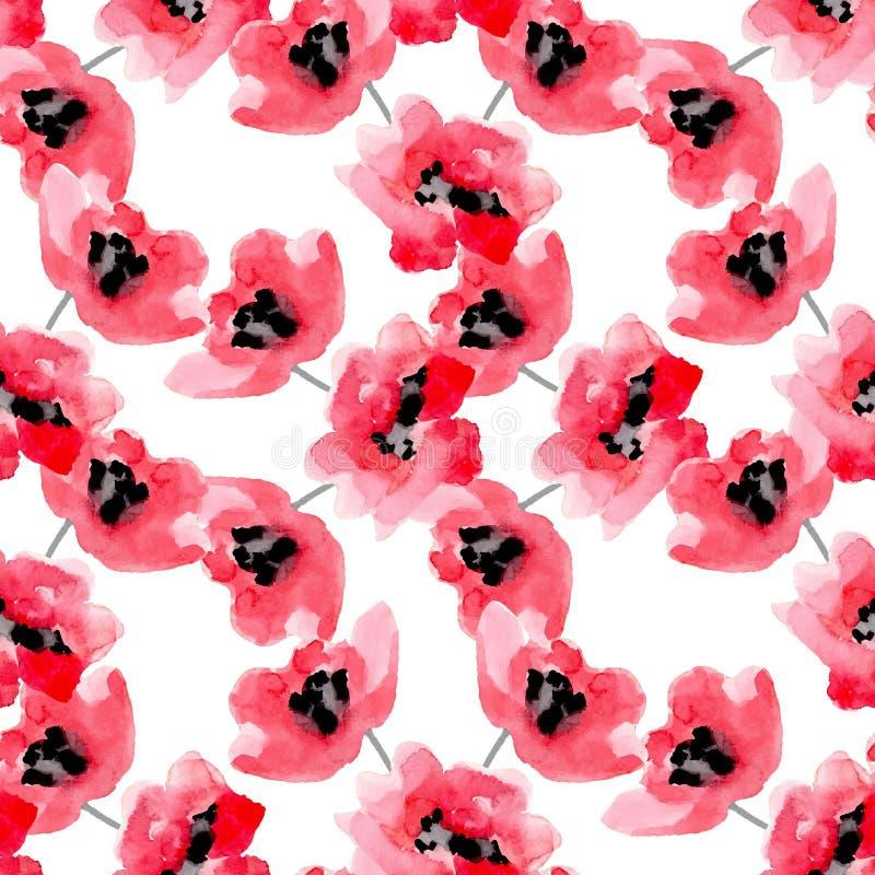 水彩开花红色鸦片无缝的样式 库存例证