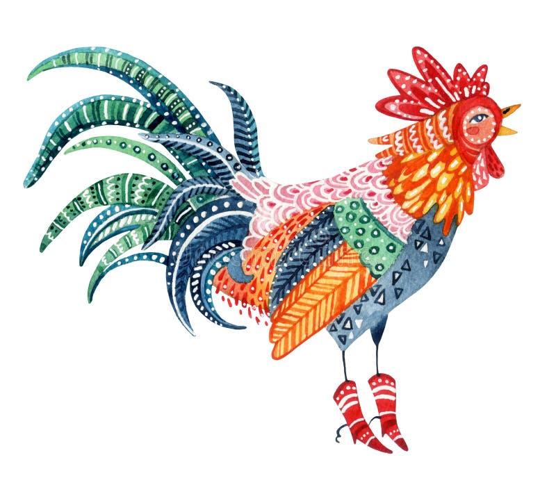 水彩当地人仿造了雄鸡-春节的标志 向量例证