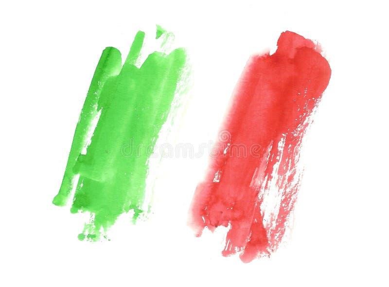 水彩意大利旗子,意大利的抽象横幅 免版税库存照片