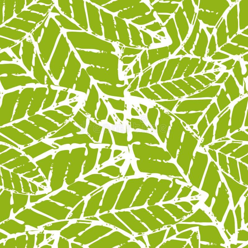 水彩手拉的传染媒介叶子无缝的样式 抽象gru 库存例证