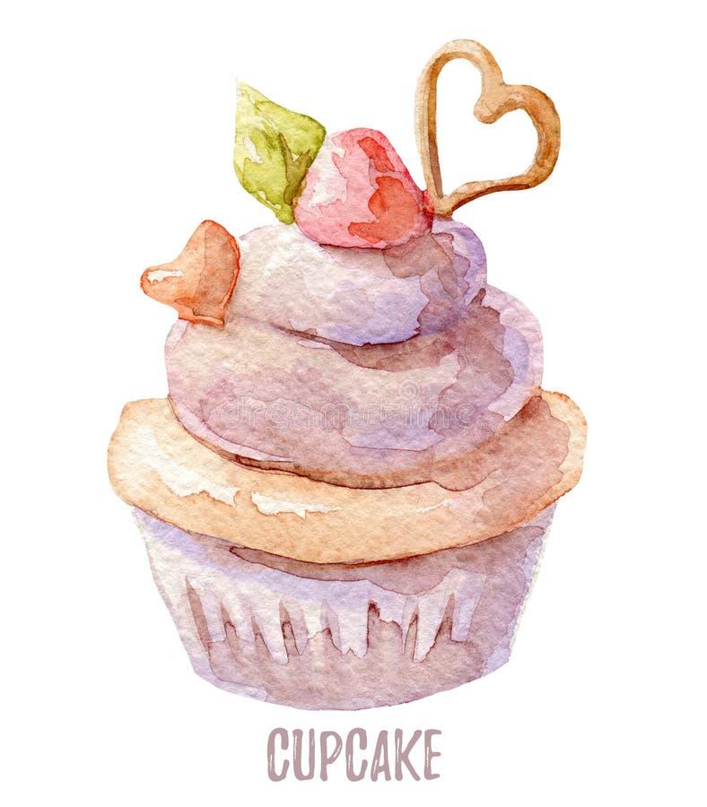 水彩手拉的杯形蛋糕完善对邀请、卡片、晚餐和菜单模板 向量例证