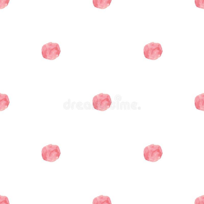 水彩手拉的桃红色玫瑰圆点传染媒介 皇族释放例证