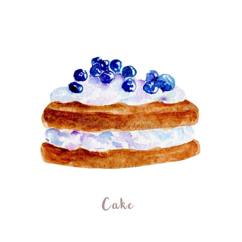 水彩手拉的蛋糕 在白色背景的点心例证 皇族释放例证