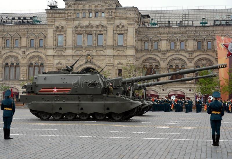 彩排游行以纪念胜利天在莫斯科 俄国152 mm自走短程高射炮旅团水平`联合SV ` 库存照片