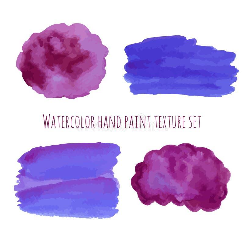 水彩摘要在紫罗兰色和紫色颜色的设计元素 被设置的手拉的抽象五颜六色的污点 手油漆水彩 皇族释放例证