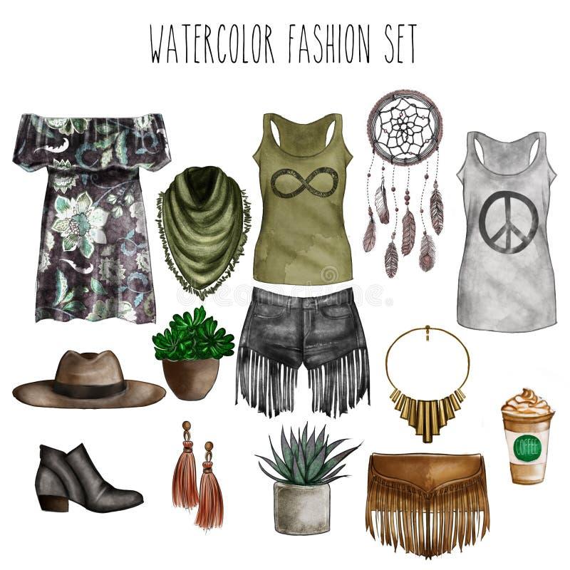 水彩数字式例证-水彩时尚剪贴美术设置-衣橱精华-妇女服装-平的时尚剪影 库存例证