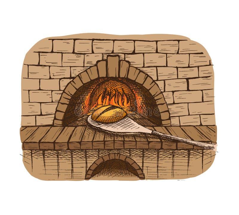 水彩新鲜的面包和烤箱.图片