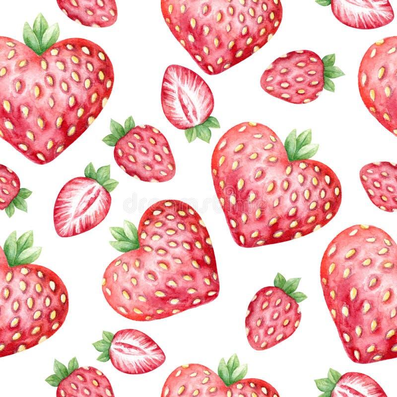 水彩无缝的样式用新鲜的草莓 库存例证
