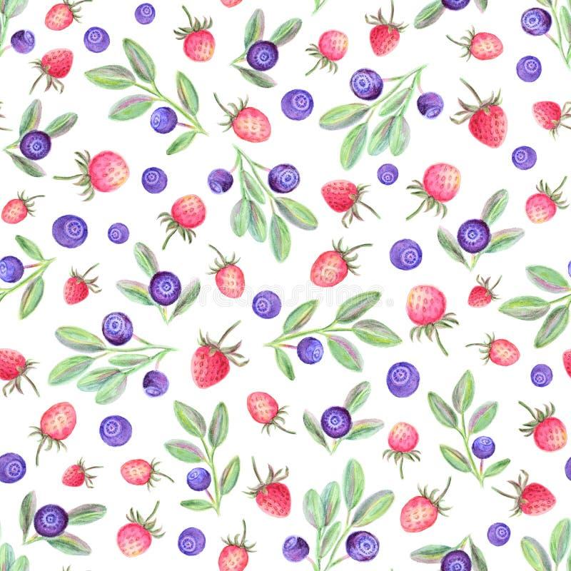 水彩无缝的样式用莓果 皇族释放例证