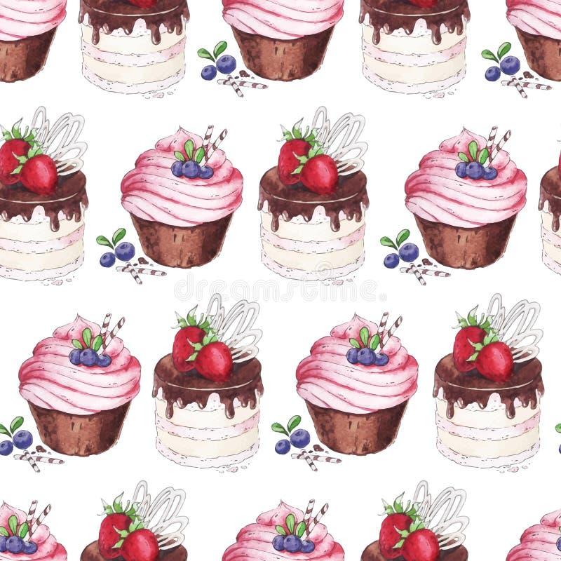 水彩无缝的样式蓝莓杯形蛋糕 皇族释放例证