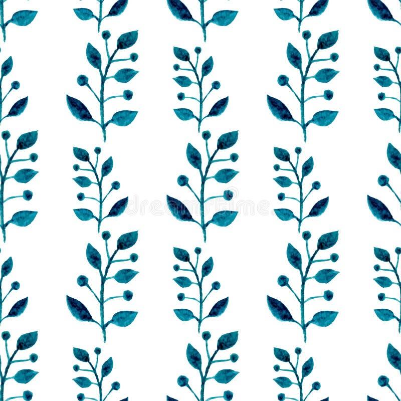 水彩无缝的样式 花卉传染媒介手油漆背景 蓝色枝杈,叶子,在白色背景的叶子 对织品, wal 皇族释放例证