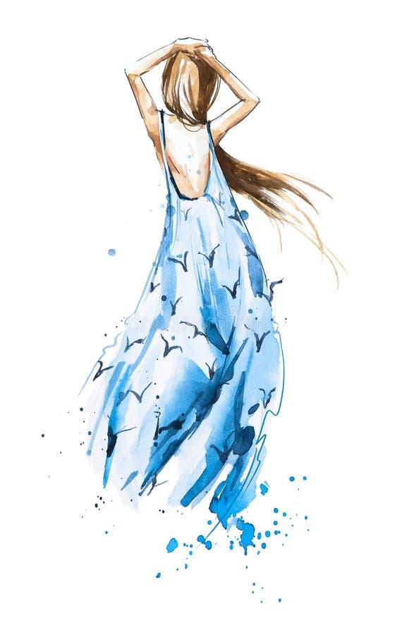 水彩时尚例证,看在距离的夏天礼服的女孩图片