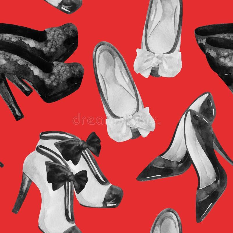 水彩时尚穿上鞋子绘画 向量例证