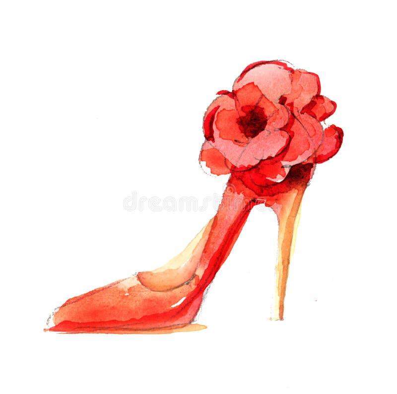 水彩时尚鞋子 库存例证