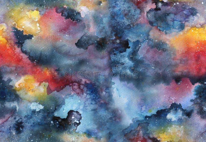 水彩星系无缝的样式 库存例证