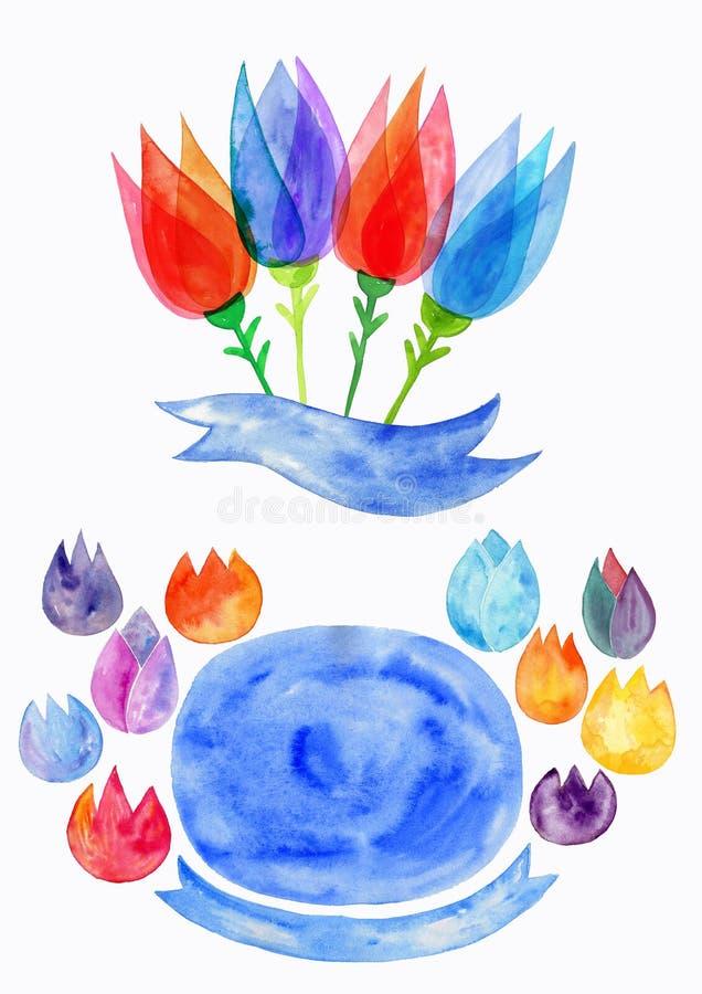 水彩春天开花,水彩被传统化的郁金香,自然花卉动机 皇族释放例证