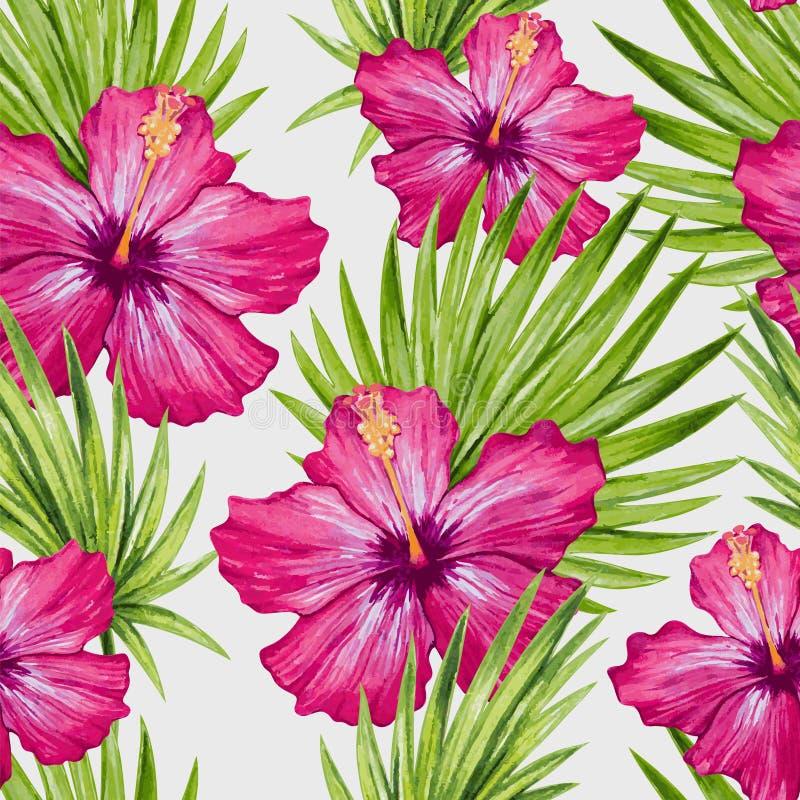 水彩木槿花和棕榈叶无缝的样式 皇族释放例证图片