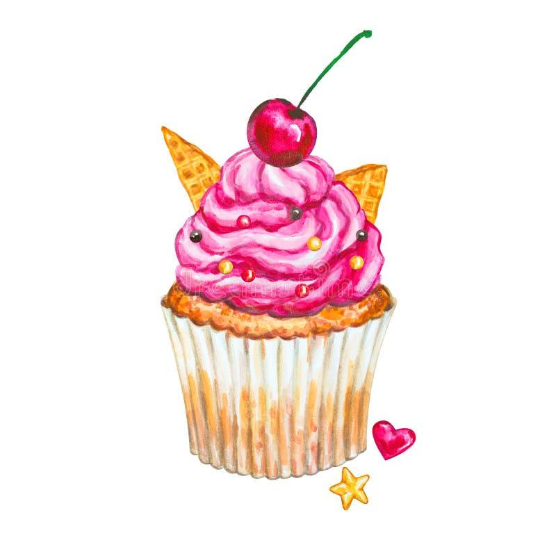 水彩杯形蛋糕 水彩樱桃杯形蛋糕 库存例证