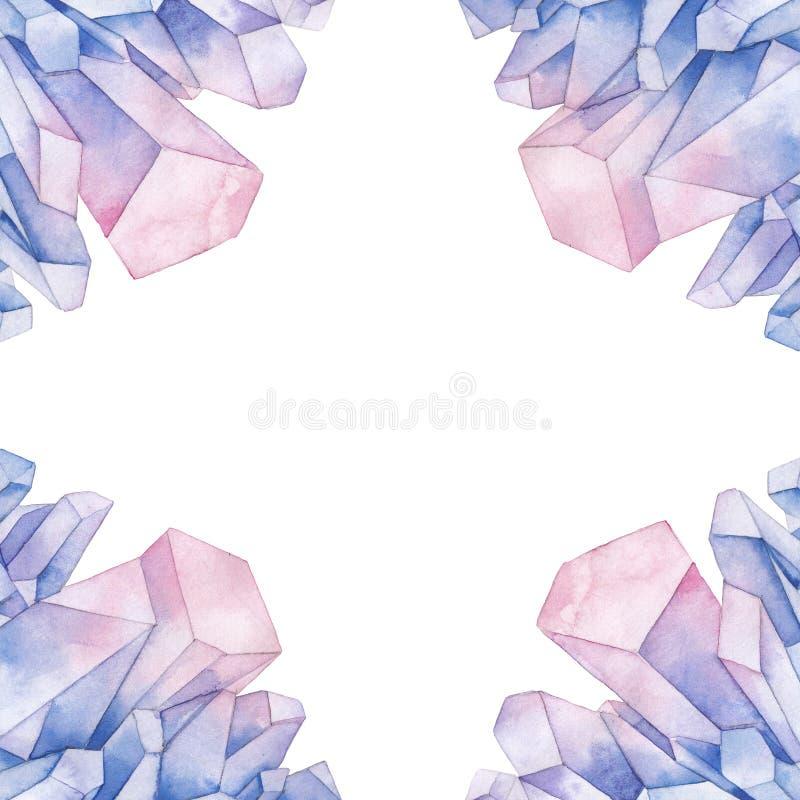 水彩柔和的淡色彩色的水晶 皇族释放例证