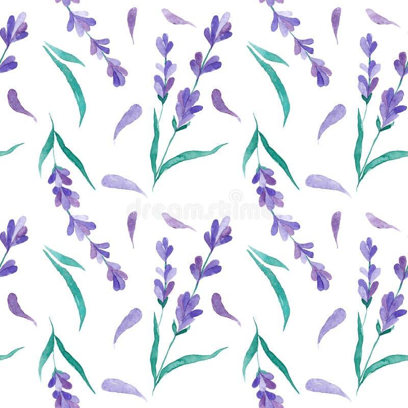 水彩样式用淡紫色 手绘画 织品的无缝的样式、纸和其他打印和网项目 向量例证