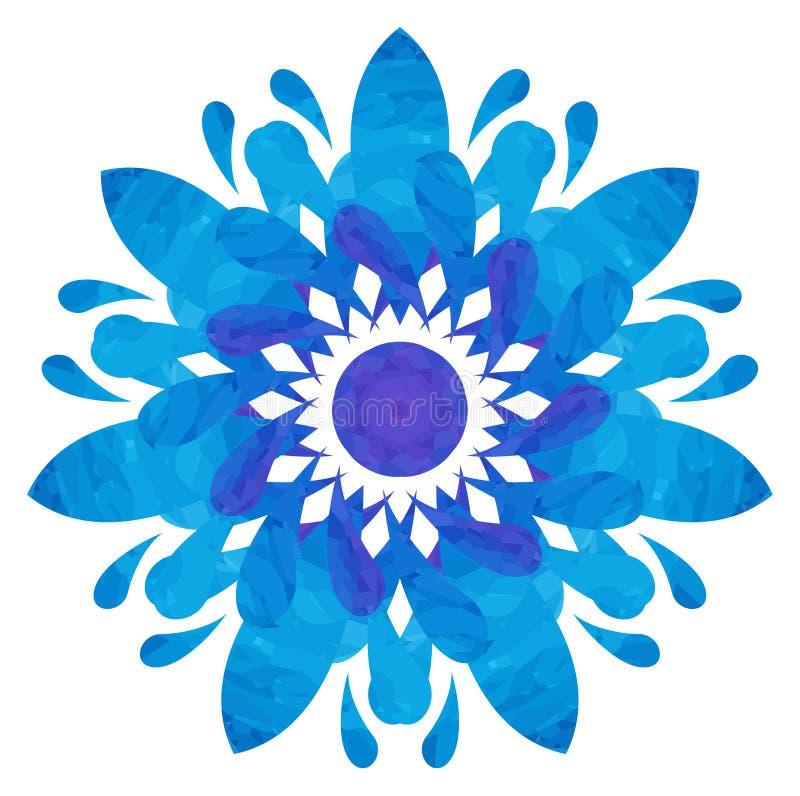 水彩样式-蓝色抽象花 免版税库存图片
