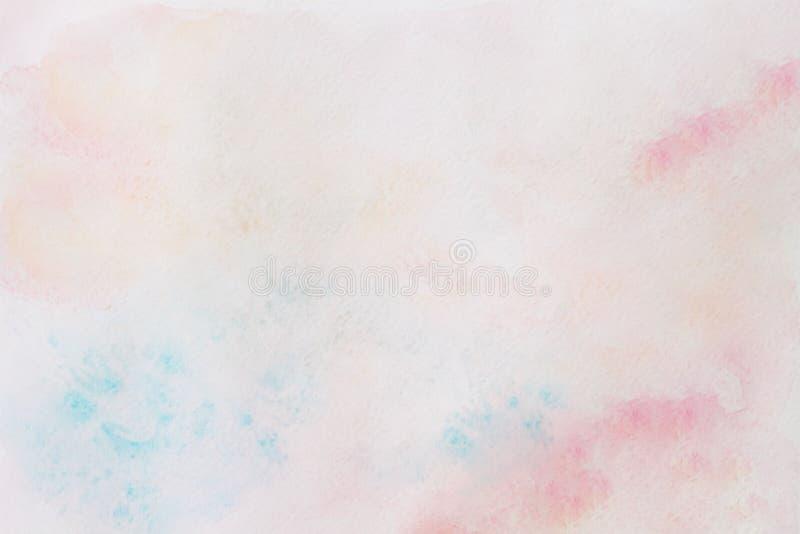水彩桃红色和绿松石抽象手画背景与画纸纹理 库存照片