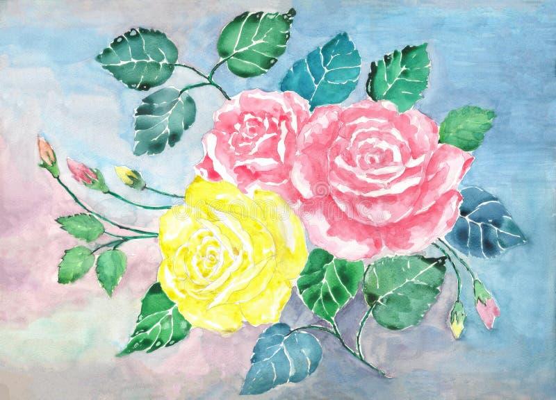 水彩桃红色和黄色玫瑰花束艺术 手画玫瑰色花和绿色叶子 例证 皇族释放例证
