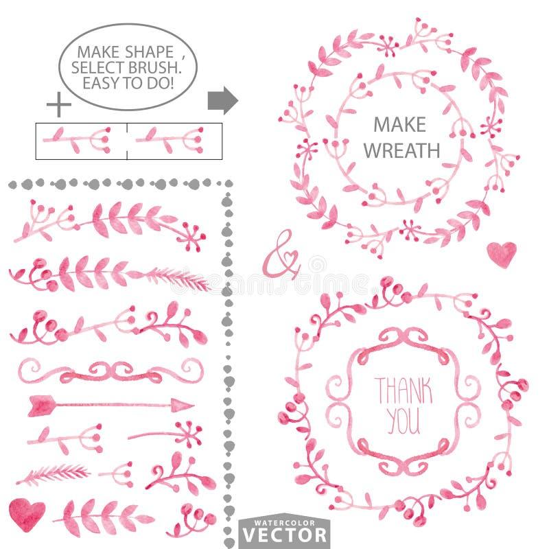 水彩桃红色花卉刷子和花圈集合模板 库存例证