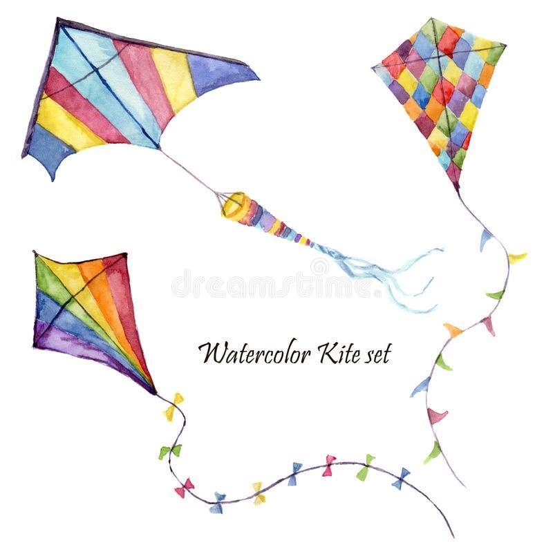 水彩棋盘和镶边风筝空气集合 与减速火箭的设计的手拉的葡萄酒风筝 在白色后面隔绝的例证 库存例证